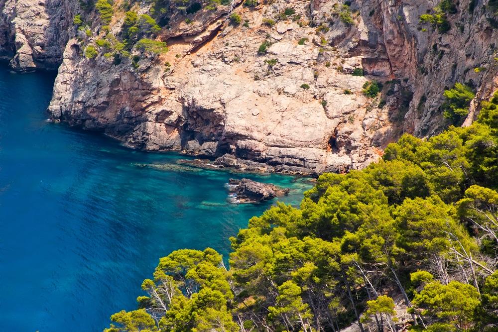 Costa norte de Mallorca con acantilados y pinares